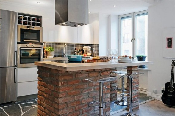 contemporary-kitchen-with-wooden-table-top-and-the-bottom-of-the-brick-588x391