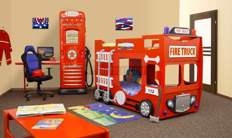 Cameretta dei pompieri in stile vigili del fuoco per i bambini - Camera da letto bambino ...